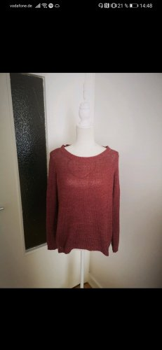 ONLY: Basic-Pullover in rostrot/cognacrot