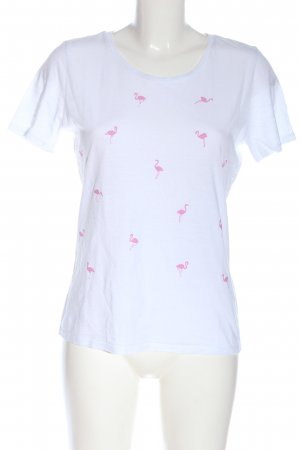 Only Basic-Shirt weiß-pink Allover-Druck Casual-Look