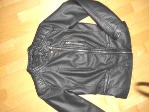 Only Bikerjacke Gr. 36 schmal anthrazit weiches Kunstleder kaum getragen
