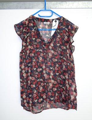 Only Bluse schwarz mit Blumen Gr. 38 transparent neu mit Etikett