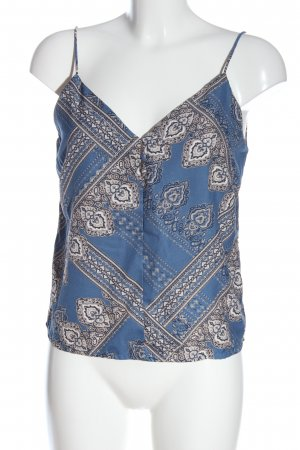 Only Blusentop blau-wollweiß abstraktes Muster Casual-Look