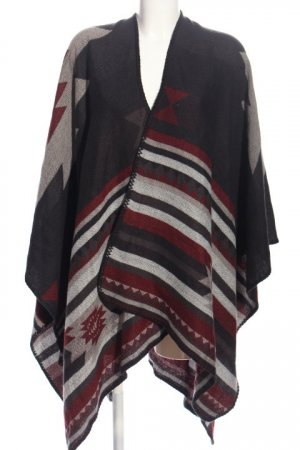 Only Cape hellgrau-rot grafisches Muster Casual-Look