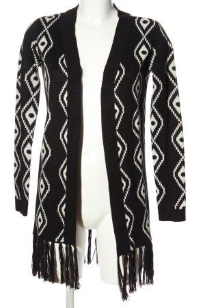 Only Cardigan schwarz-weiß grafisches Muster Casual-Look