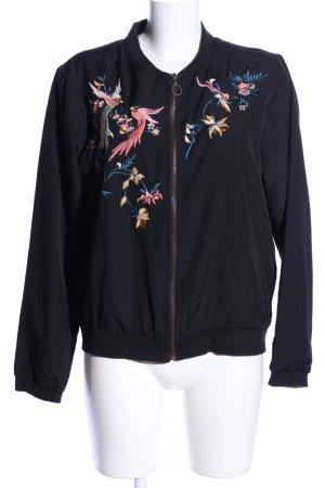 Only Blouson universitaire bleu-rose motif de fleur style décontracté