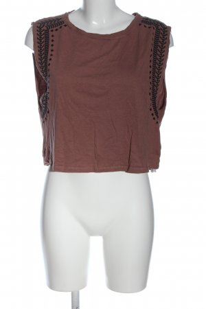 Only Cropped Shirt brown-black striped pattern casual look