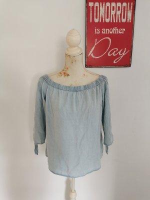 Only Damen Tunikashirt Jeans Optik 3/4 Ärmel hellblau Größe 40