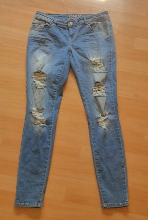 Only pantalón de cintura baja azul pálido