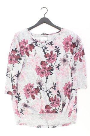 Only Feinstrickpullover Größe L mit Blumenmuster grau aus Polyester