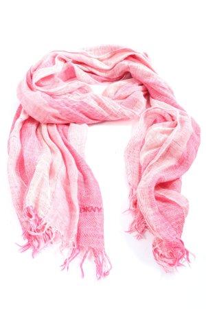 Sciarpa con frange rosa motivo a righe stile casual