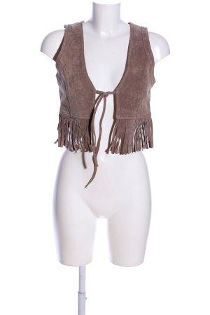 Only Chaleco con flecos marrón elegante