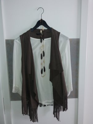 Only Fringed Vest brown