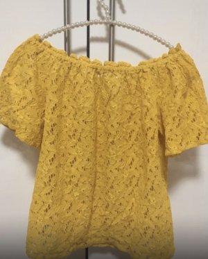 Only Koszula typu carmen złotopomarańczowy