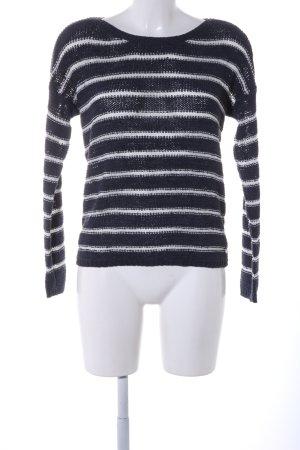 Only Grobstrickpullover schwarz-weiß Streifenmuster Casual-Look