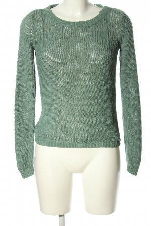 Only Crochet Sweater green cable stitch casual look