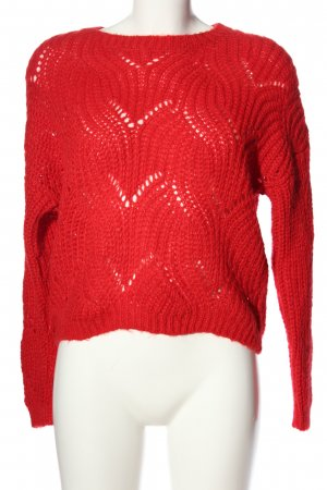 Only Crochet Sweater red cable stitch casual look