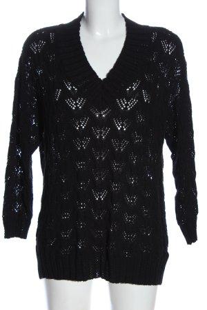 Only Crochet Sweater black weave pattern casual look