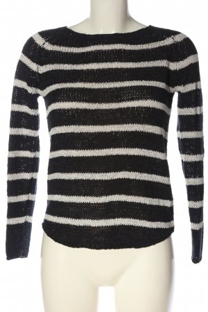 Only Crochet Sweater black-white allover print casual look
