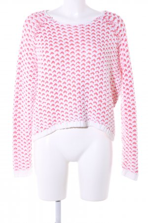 Only Crochet Sweater white-red allover print casual look
