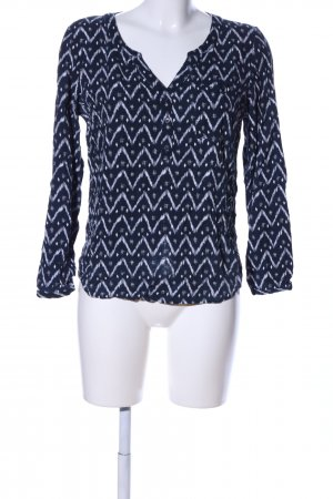 Only Hemd-Bluse blau-weiß grafisches Muster Casual-Look