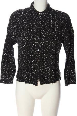 Only Hemd-Bluse schwarz-weiß Allover-Druck Casual-Look