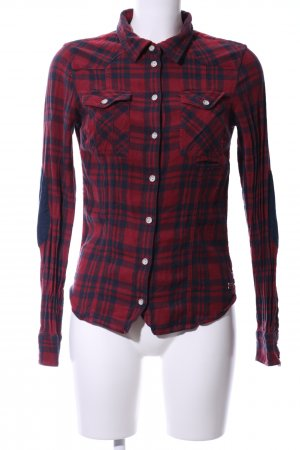Only Hemd-Bluse rot-blau Karomuster Casual-Look