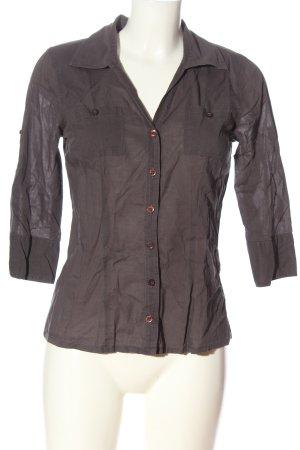 Only Hemd-Bluse braun Schriftzug gedruckt Casual-Look