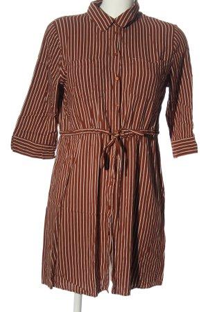 Only Robe chemise brun-blanc motif rayé style décontracté