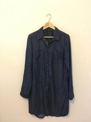 Only Hemd Bluse Kleid Langarm dunkelblau Denim Jeans leicht weich gerade geschnitten cool zeitlos