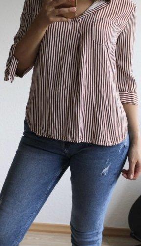 Only Fashion Chemise à manches courtes marron clair-blanc