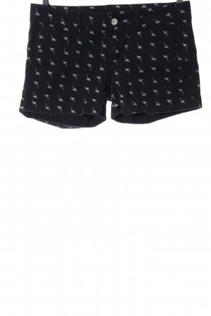 Only High-Waist-Shorts schwarz-hellgrau Allover-Druck Casual-Look