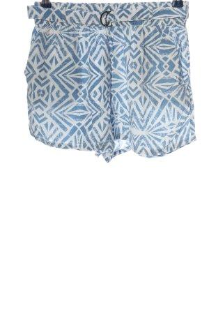 Only Hot Pants blau-weiß abstraktes Muster Casual-Look