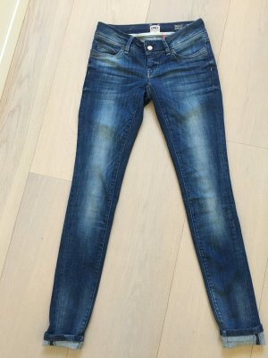 Only Jeans taille basse bleu coton