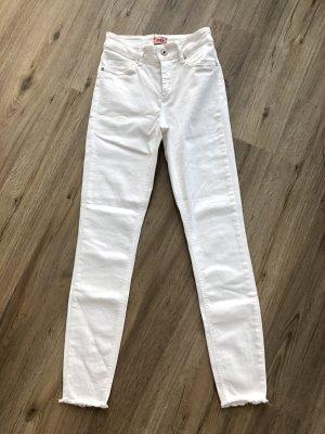 Only Jeans Hose weiß Fransen Gr. S/32 mid waist skinny