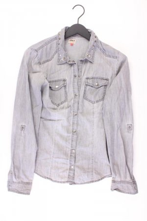 Only Jeansbluse Größe 40 Langarm grau aus Baumwolle