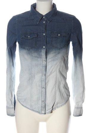 Only Jeanshemd blau-weiß Farbverlauf Casual-Look