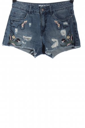 Only Jeansshorts blau Blumenmuster Casual-Look