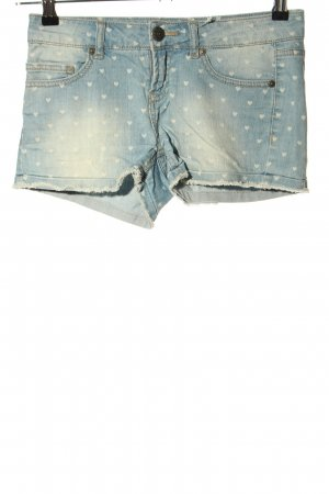 Only Jeansshorts blau-creme Allover-Druck Casual-Look