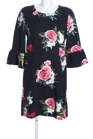 Only Jerseykleid schwarz-pink Allover-Druck Casual-Look