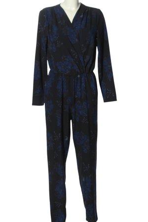 Only Jumpsuit schwarz-blau Allover-Druck Casual-Look