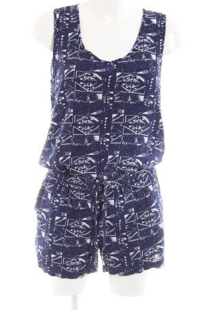 Only Jumpsuit blau-weiß abstraktes Muster Casual-Look