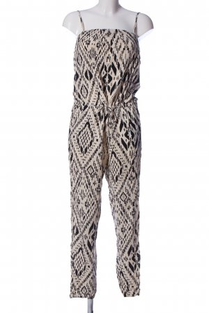 Only Jumpsuit creme-schwarz abstraktes Muster Casual-Look