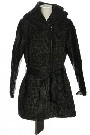 Only Hooded Coat black-light grey check pattern business style