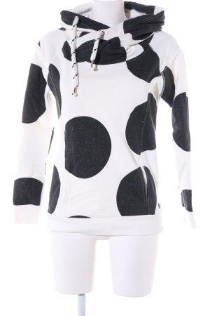 Only Kapuzensweatshirt weiß-schwarz Punktemuster Casual-Look