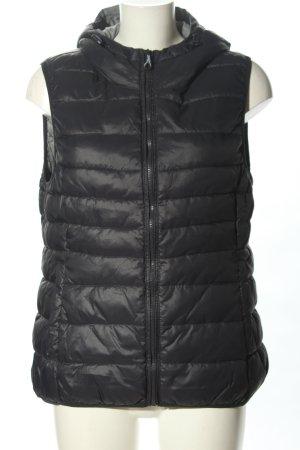 Only Gilet à capuche noir motif de courtepointe style décontracté