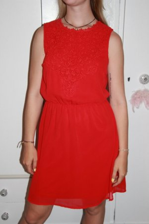 Only Kleid Gr. 36 rot Spitze