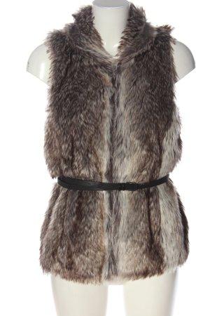 Only Kamizelka ze sztucznym futrem brązowy-w kolorze białej wełny