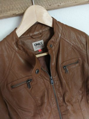 Only Faux Leather Jacket cognac-coloured
