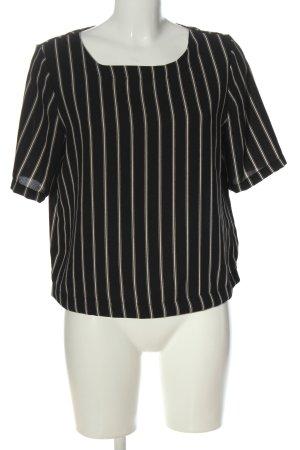 Only Kurzarm-Bluse schwarz-creme Streifenmuster Casual-Look