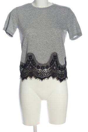 Only Blouse à manches courtes gris clair-noir style décontracté