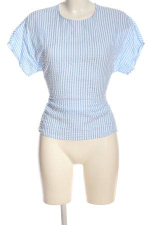 Only Kurzarm-Bluse blau-weiß Streifenmuster Casual-Look